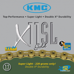 Catena KMC X-11-SL, color oro 112 link 5,5 mm 11 vel. versione hollow
