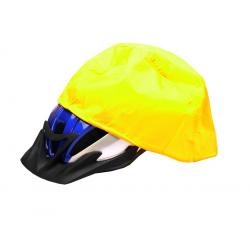 cuffia antipioggia per casco bici gialla