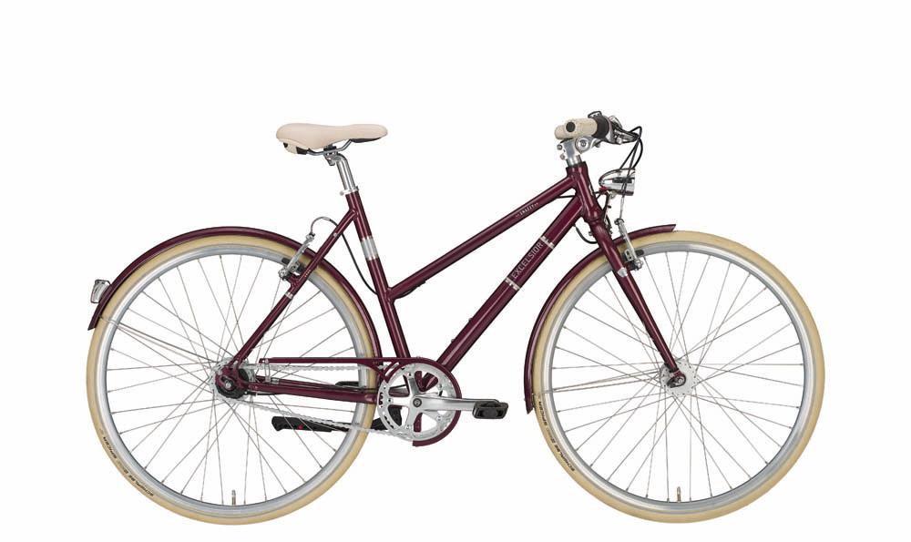 "Contropedale EXCELSIOR bici vintage donna ""Snazzy"", 8 Velocità Shimano Nexus, Wine"
