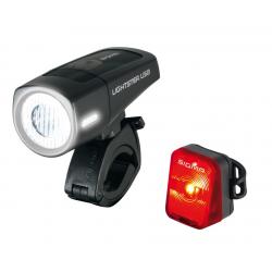 Luce anteriore a batteria LED Lightster USB Set SIGMA K compreso Nugget RL nero
