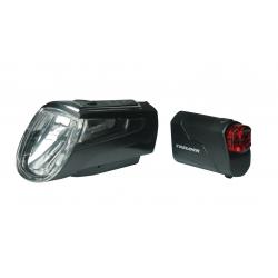Faro a batteria LED Set Trelock I-go LS 560/720 Control nero c supporto