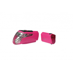 Set fanali a batteria LEDn Set Trelock I-go Power LS 460/720 rosa con supporto