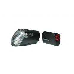 Set fanali a batteria LEDn Set Trelock I-go Eco LS 360/ 720 nero con supporto