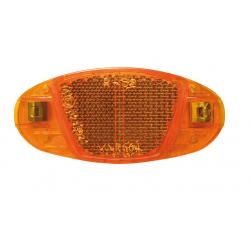 Catarifrangente per raggi giallo con ganci in acciaio inox