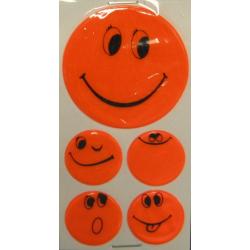 Set di adesivi riflettenti Smily arancione, 1 x Ø 5 cm, 4 x Ø 2,5 cm
