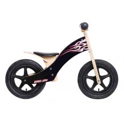 "Bici senza Pedali Rebel Kidz Wood Air legno, 12"", fiamme nero"