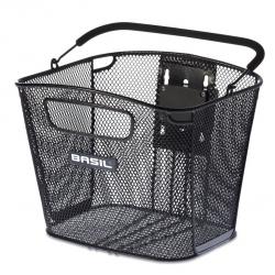 Cestino anteriore Basil Bold removibile nero, maglia stretta, senza supporto