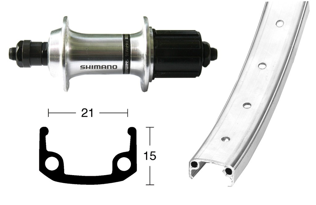 Ruota Posteriore 26x1.9 36F QR Cass. Shimano 8v Alluminio arg/zinc