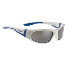 Alpina Flexxy junior bianco/blu, lenti Ceramic nere a specchio