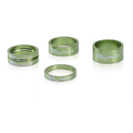 """XLC A-Head Spacer Set AS-A02 3x5, 1 x 10, 1x 5, 1 1/8"""" verde limone"""