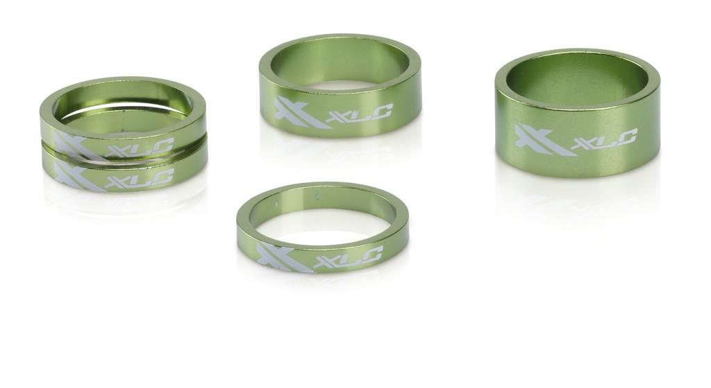 """XLC A-Head Spacer Set AS-A02 3x5, 1 x 10, 1x 5, 1 1/8"""" verde lime"""