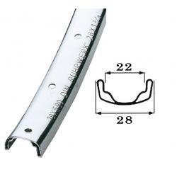 """cerchione di acciaio 26"""", cromato 559-22,buco p.valv.8,5mm,36 buchi,s.occ."""