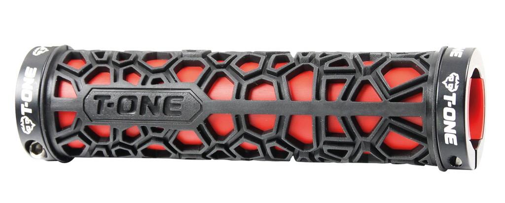 manopole h2o rosso//nero con 2 viti di sicurezza 130mm T-one bici mtb