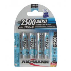 Batteria Ansmann Mignon 2500mAh NiMH, 1,2V, AA, Setx4 pezzi