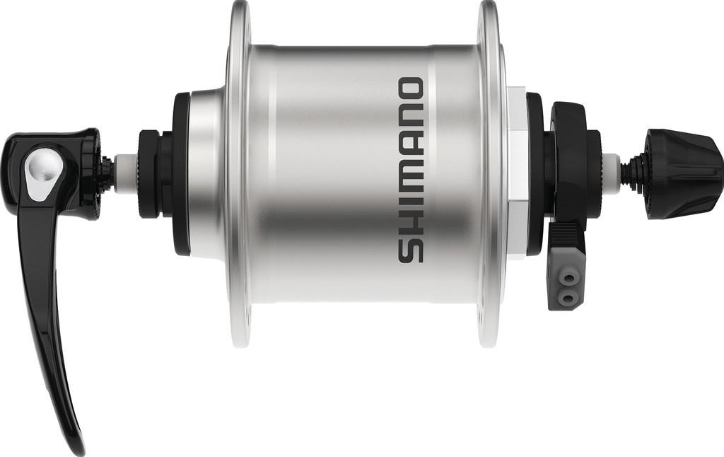 Mozzo adinamo RA Shimano DHT4000 100mm, 32 fori argento, sgancio rapido