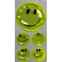 Set di adesivi altamente riflettenti Smily giallo, 1 x Ø 5 cm, 4 x Ø 2,5 cm