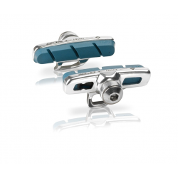 XLC Cartridge Road pattini freno Campa, Set 4 pezzi, 50 mm, argento/blu, per cerchi carbonio