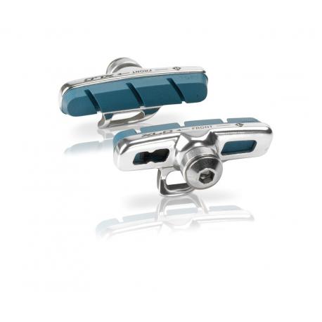XLC Cartridge Road pattini freno Campa, Set 4 pezzi, 50 mm, argento/blu, per cerchi carbonio
