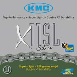 Catena KMC X-11-SL, argento 112 link 5,5 mm 11 vel. versione hollow