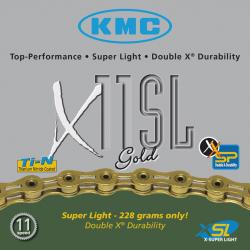 Catena KMC X-11-SL, color oro 112 link 5,5 mm 11 vel. versione hollow