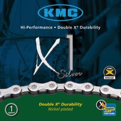 Catena KMC X1 p. cambio di mozzo 1/2 x 3/32 110 anelli 6,7 mm