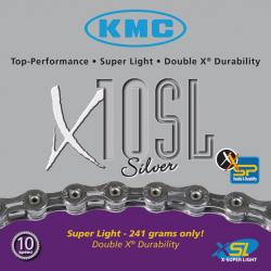 catena di divisore KMC X-10-SL col.arg.. 112 anelli, 6,2mm, decupla,versione cava