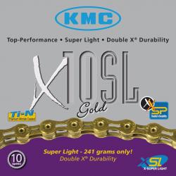 catena di divisore KMC X-10-SL oro 112 anelli, 6,2mm,decupla, versione cava