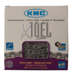 Catena KMC X-10-EL-argento 114 maglie 5,9 mm 10 vel., rinforzata