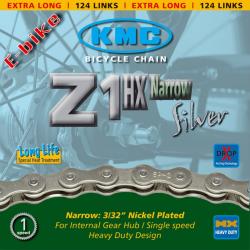 Catena KMC Z 1HX p.cambio di mozzo 1/2 x 3/32 124 anelli 7,8 mm