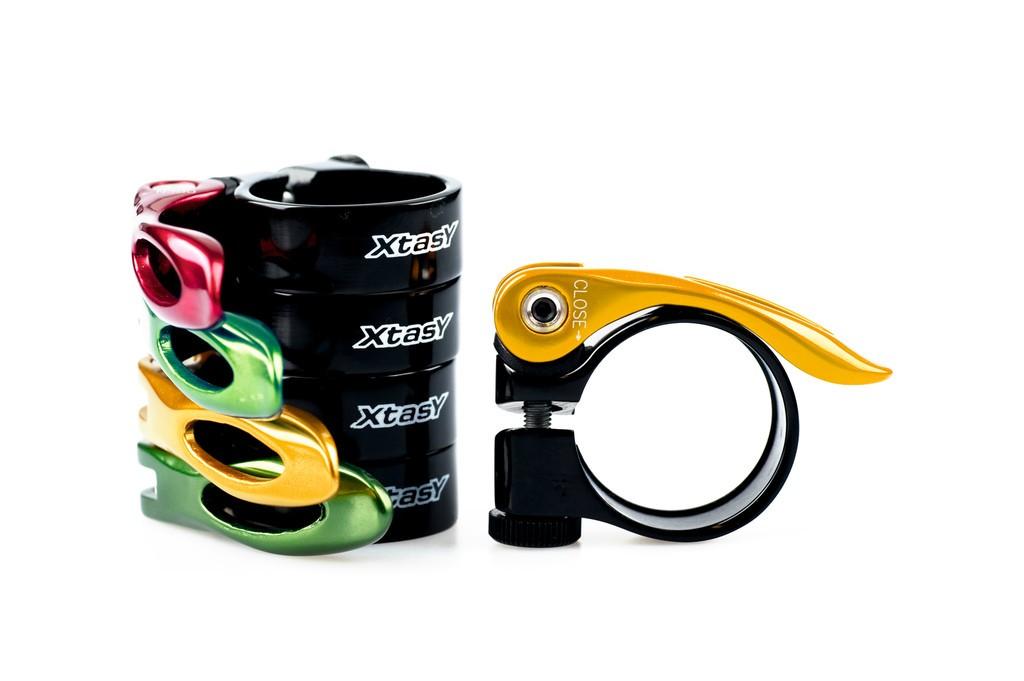 Fasc. blocc. sella X-TAS-Y nero alloy 31,8 mm, con sgancio rapido verde