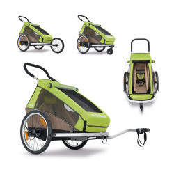 Rimorchio Croozer 2016 Kid for 1, verde, monoposto