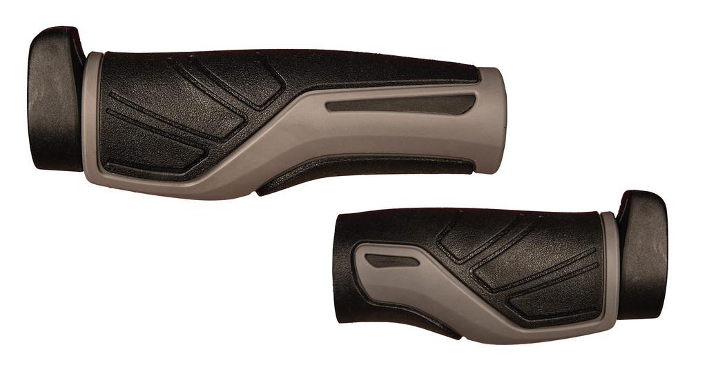 Manopole Herrmans Adrenalin 128/98mm, Ø 22mm, nero/grigio, paio