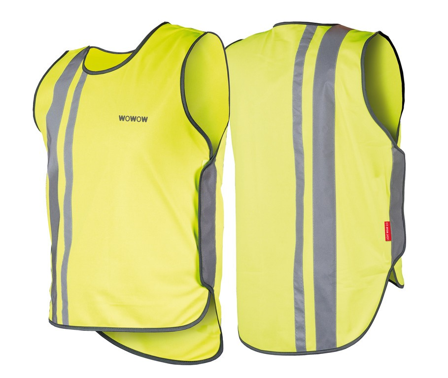 Gilet di sicurezza Wowow per adulti giallo con strisce riflet. e velcro T. L