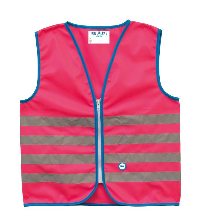 Gilet di sicurezza Wowow Fun Jacket per bambini pink con fasce riflTg.M
