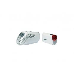Set fanali a batteria LEDn Set Trelock I-go Power LS 460/720 bianco con supporto