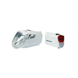 Set fanali a batteria LEDn Set Trelock I-go Eco LS 360/ 720 bianco con supporto