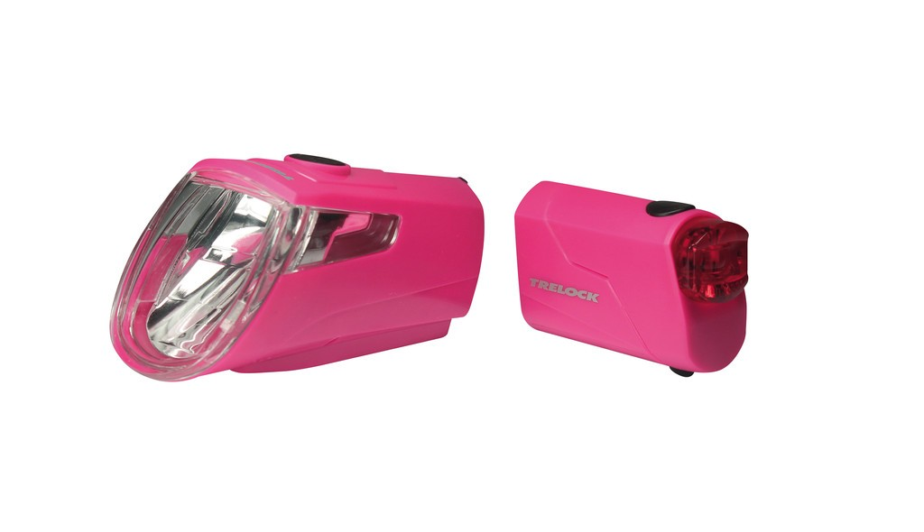 Set fanali a batteria LEDn Set Trelock I-go Eco LS 360/ 720 rosa con supporto