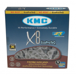 "Catena KMC X-8 EPT antiruggine 1/2"" x 3/32"", 116 maglie, 7,3mm, 8V"