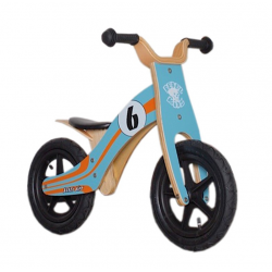 "Bici senza Pedali Rebel Kidz Wood Air legno, 12"", Le Mans blu/arancio"
