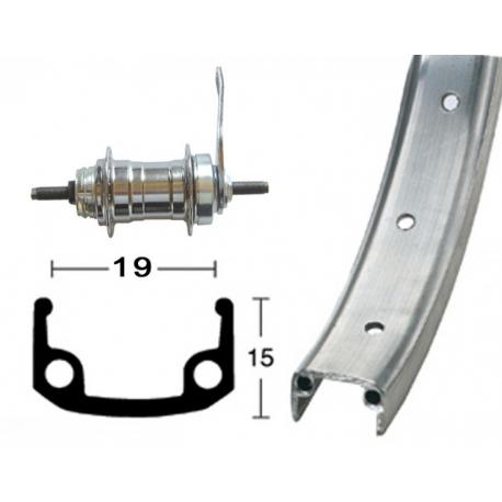 """RP 16"""" 305- 9 Alu, 20 fori, argento, contropedale, raggi zinco"""