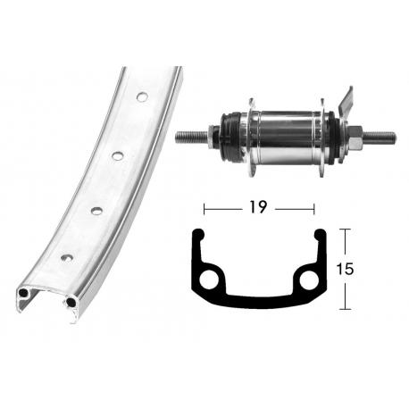 Ruota posteriore 20x1.75 36 fori alloy/zinco Shimano 1V, contropedale