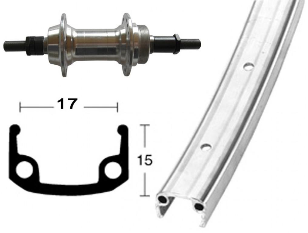 RP 27x1 1/4, corona da avvitare, Alu, 36 fori, cerchio parete singola, argento, raggi zincati