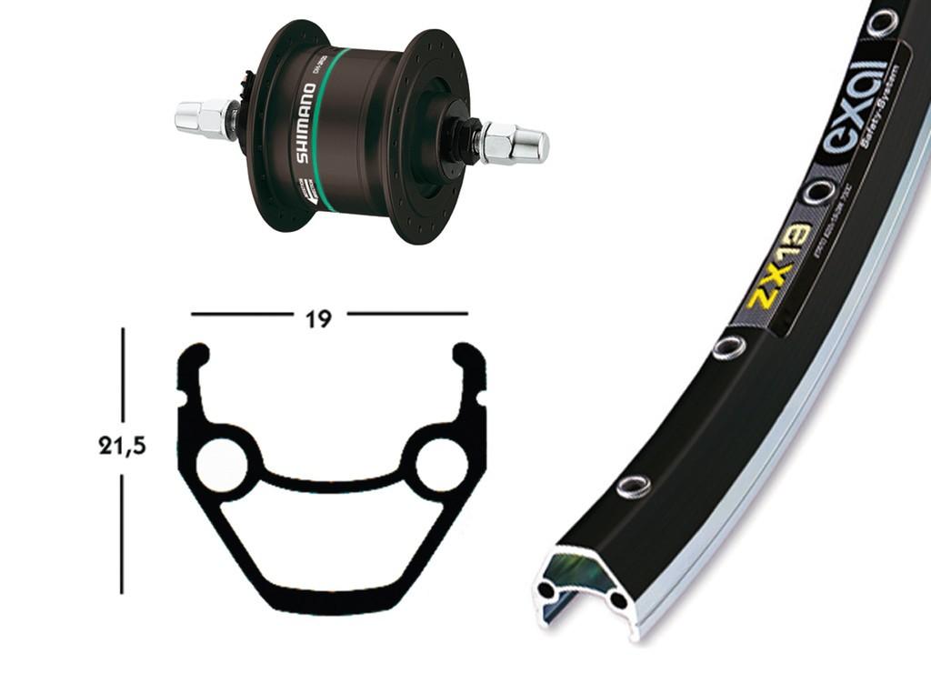 RA 26X1.75, mozzo dinamo nero, 36f ZX 19 nero/argento, raggi neri, perno fisso