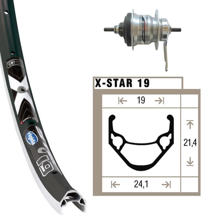 Ruota posteriore 28X1.75 Shimano 7V 36 f Rigida X-Star 19 nero/argento, raggi inox