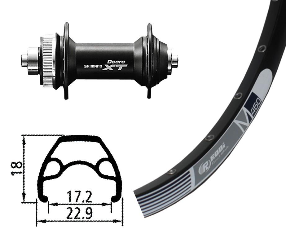 RA 26x1.9 Deore XT Centerlock QR 32F Rodi M 460 disco nero, raggi Niro neri