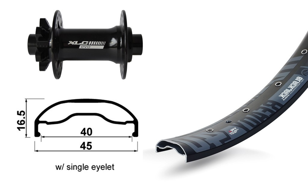 "RA 27.5"" XLC 6-fori nero TA 15 110mm Rodi Ready40 DISK , raggi Niro neri 32 L"