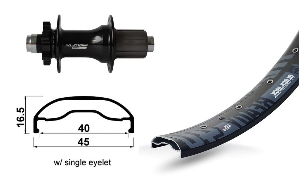 "RP 27.5"" XLC 6-fori nero TA 12 148mm Rodi Ready40 DISK , raggi Niro neri 32 L"