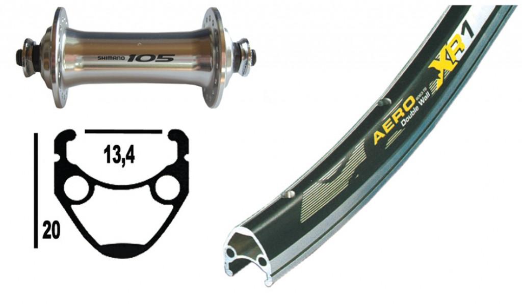 RA13-622 105 argento, QR,32 fori,6,5 Exal XR-1 nero/argento, raggi Niro DD