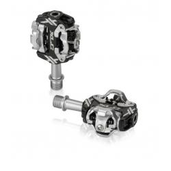 XLC Pedali a sistema PD-S17 bilaterali nero/argento compatibili SPD