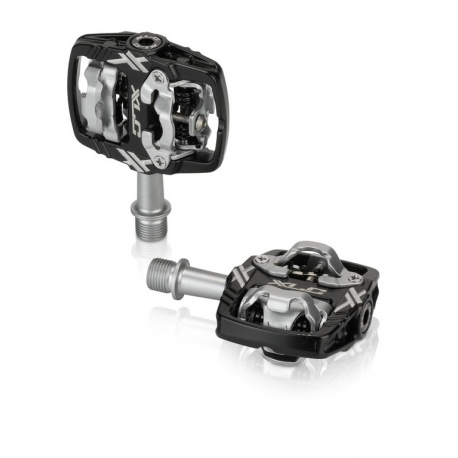 XLC Pedali a sistema PD-S18 bilaterali nero/argento compatibili SPD